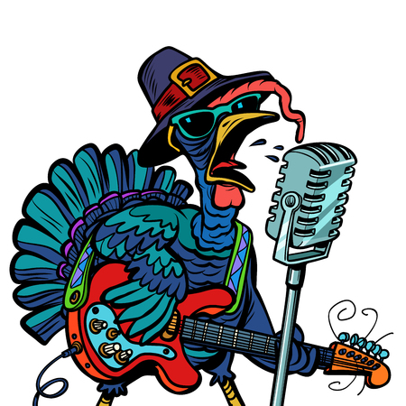 Thanksgiving Turkey character singer. Holiday party. Isolate on white background. Comic cartoon pop art retro vector illustration Vettoriali