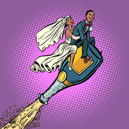 Bride and groom wedding. African American couple. Flying on a bottle of champagne. Comic cartoon pop art retro vector illustration