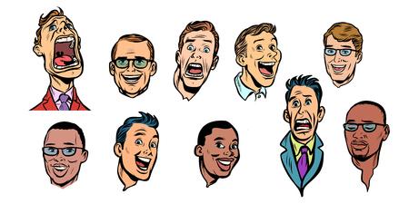 collection de jeux de visage d'hommes. isoler sur fond blanc. Illustration vectorielle rétro de dessin animé comique pop art