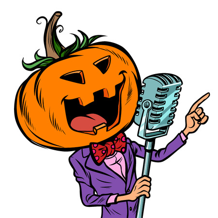 Halloween pumpkin character singer. Holiday party. Isolate on white background. Comic cartoon pop art retro vector illustration