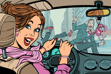Fröhliche Fahrerin, Verkehrsunfall mit Fußgänger