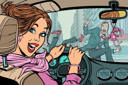 Vrolijke vrouwelijke chauffeur, ongeval op weg met voetganger