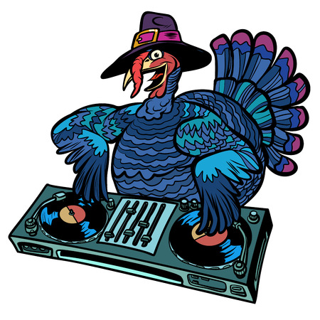 Thanksgiving Turkey character. DJ at the holiday party. Isolate on white background. Comic cartoon pop art retro vector illustration Vectores