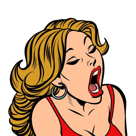 Beautiful woman opened her mouth. Comic cartoon pop art retro vector illustration