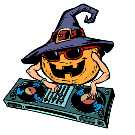 Halloween pumpkin DJ character. isolate on white background