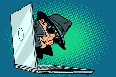 espiar. ordenador portátil. vigilancia y piratería Foto de archivo
