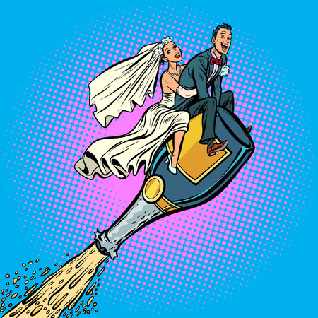 Bride and groom wedding. Flying on a bottle of champagne Stock Photo - 113384676