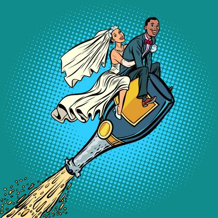Bride and groom wedding. Inter-ethnic couple. Flying on a bottle Foto de archivo - 113384683