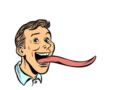 man with a long tongue Stock fotó