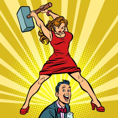 Frau schlägt einen Mann mit einem Hammer. Retro-Vektorillustrationszeichnung der Comic-Karikatur-Pop-Art