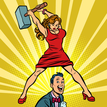 Woman beats a man with a hammer. Comic cartoon pop art retro vector illustration drawing