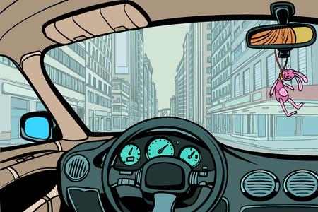 car in the city, view from inside cabin Illustration