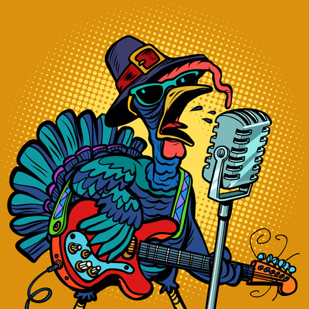 Thanksgiving Turkey character singer. Holiday party Stock Photo