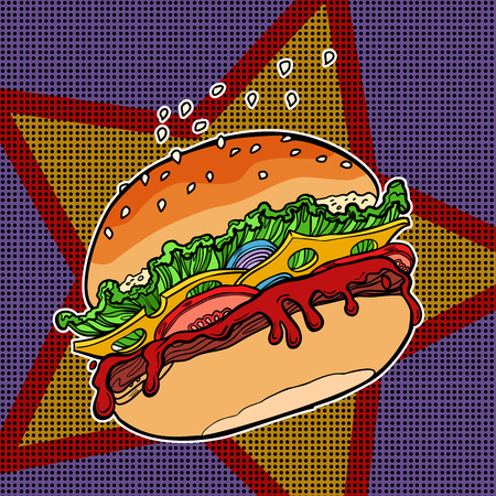 Fast food Burger on a star background
