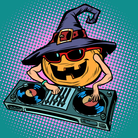Halloween pumpkin DJ character. Musical holiday party 版權商用圖片