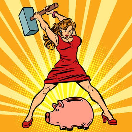 woman breaks piggy Bank. Finance, Economics and consumption 스톡 콘텐츠