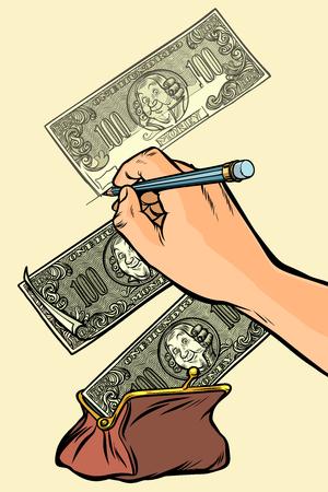 Money falls into the purse. Counterfeiter draws money dollars Фото со стока - 113384753