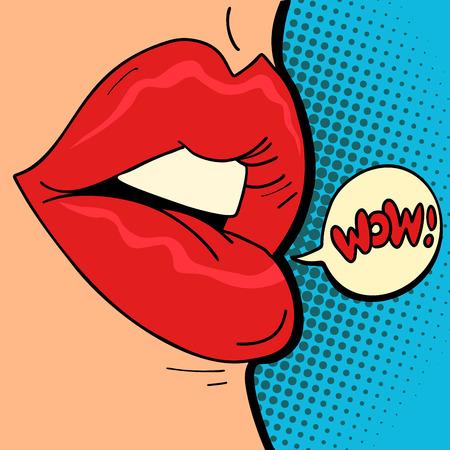 labbra femminili wow Vettoriali