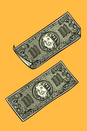 Dollars banknotes, banks and Finance. Comic cartoon pop art retro vector illustration drawing