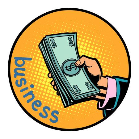 business hand with money dollars icon symbol circle emblem. Comic cartoon pop art retro vector illustration drawing Illustration
