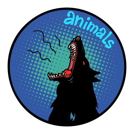 animals wolf howls icon symbol circle emblem