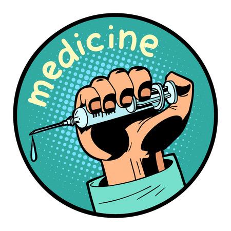 medicine doctor shot vaccination icon symbol circle emblem