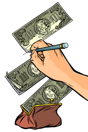 Counterfeiter draws money dollars. Money falls into the purse. I