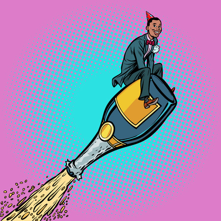 champagne wine, African man flying on a bottle. Holiday celebrat Stock Photo
