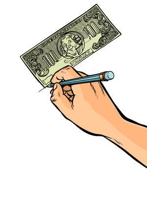 Counterfeiter draws money dollars Фото со стока - 113384832