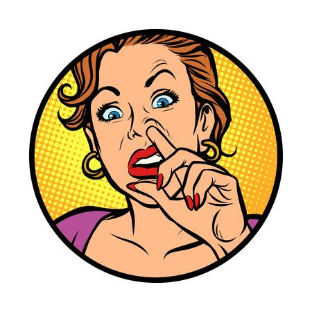 Icono de símbolo. Mujer recogiendo la nariz. Dibujo de ilustración de vector retro de dibujos animados cómic pop art