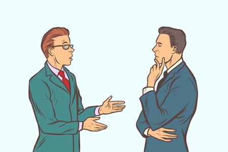 2人のビジネスマンがブレーンストーミングをする。コラボレーションチームワーク。コミック漫画 ポップアート レトロベクトルイラスト描画 ベクターイラストレーション