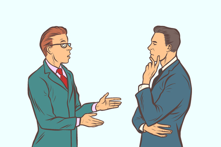two businessmen brainstorming. collaboration teamwork. Comic cartoon pop art retro vector illustration drawing
