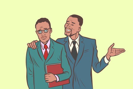 African businessman comforts supports sympathetic feels other sad. Comic cartoon pop art retro vector illustration drawing