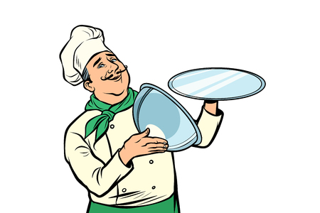 chef with tray with open lid. isolate on white background. Comic cartoon pop art retro vector illustration drawing