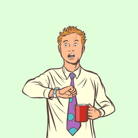 man is late. coffee clock. Comic cartoon pop art retro vector illustration drawing 向量圖像