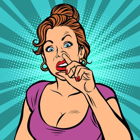 Mujer recogiendo la nariz. Dibujo de ilustración de vector retro de dibujos animados cómic pop art