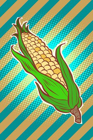 corn maize cob. appetizing vegetarian product. Comic cartoon pop art retro vector illustration drawing Stock Photo