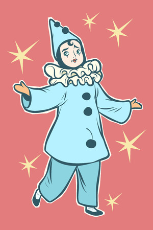 Pierrot stock character of pantomime and commedia dell arte. Comic cartoon pop art retro vector illustration drawing