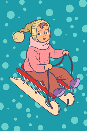 child on a sled. winter holiday. Comic cartoon pop art retro vector illustration drawing Standard-Bild - 127420547