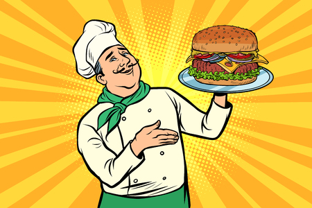 chef with Burger. Cooking fast food. Restaurant lunch. Comic cartoon pop art retro vector illustration drawing
