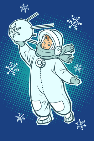 Little boy astronaut. Space satellite sputnik in hands. Winter snowfall. Comic cartoon pop art retro vector illustration drawing Illusztráció