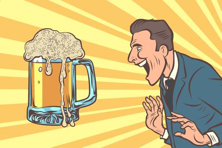 happy man and a mug of beer. Alcoholic drink pub. Comic cartoon pop art retro vector illustration drawing
