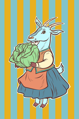 goat with cabbage. fairytale character. Comic cartoon pop art retro vector illustration drawing Фото со стока