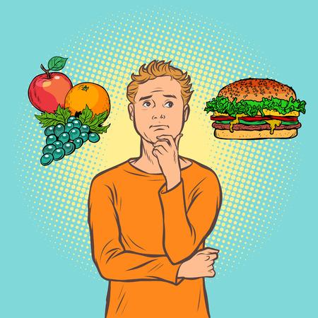 Mann Wahl zwischen Fast Food und Obst. Comic-Cartoon-Pop-Art-Retro-Vektor-Illustration-Zeichnung