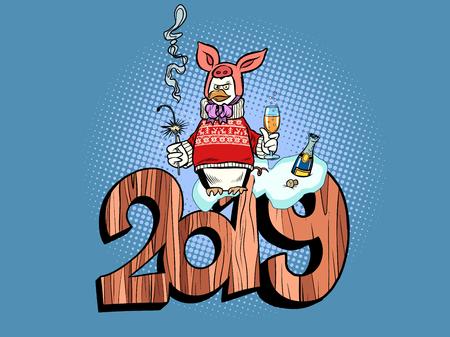 2019 happy new year. pig costume. penguin celebrates Ilustracja