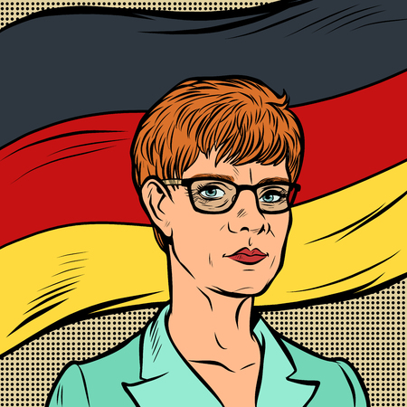 Berlin, Germany-December 23, 2018. Annegret Kramp-Karrenbauer Leader of the Christian Democratic Union. German politician. illustrative editorial. Comic cartoon pop art retro vector illustration drawi