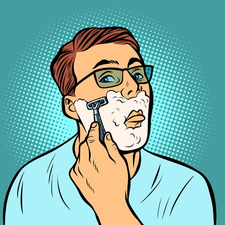 Mann rasiert Rasierer. Comic-Cartoon-Pop-Art-Retro-Vektor-Illustration-Zeichnung