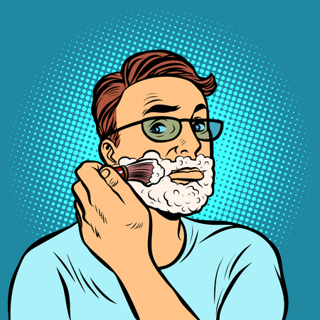 man shaving brush, hygiene, morning in the bathroom. Comic cartoon pop art retro vector illustration drawing Иллюстрация