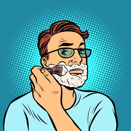 Mann Rasierpinsel, Hygiene, Morgen im Badezimmer. Comic-Cartoon-Pop-Art-Retro-Vektor-Illustration-Zeichnung
