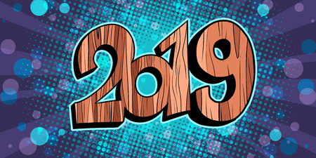 glitter Shine 2019 happy new year wooden background. Comic cartoon pop art retro vector illustration drawing Ilustração